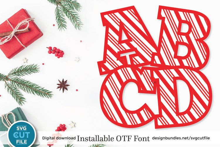 Christmas font - a Candy Cane font with candycane letters example image 1