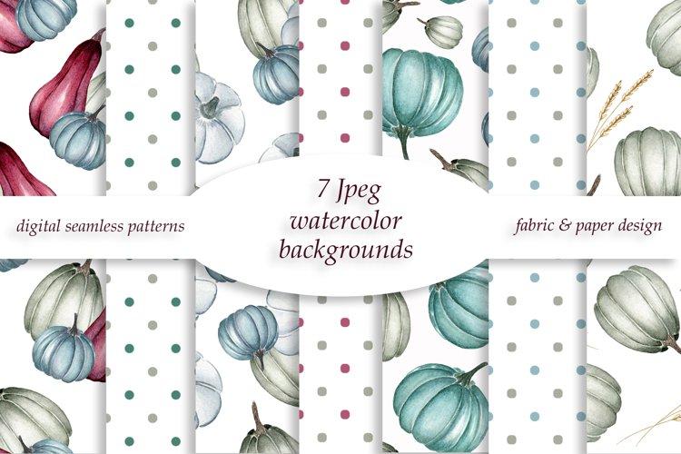Watercolor pumpkins and polka dot patterns example image 1