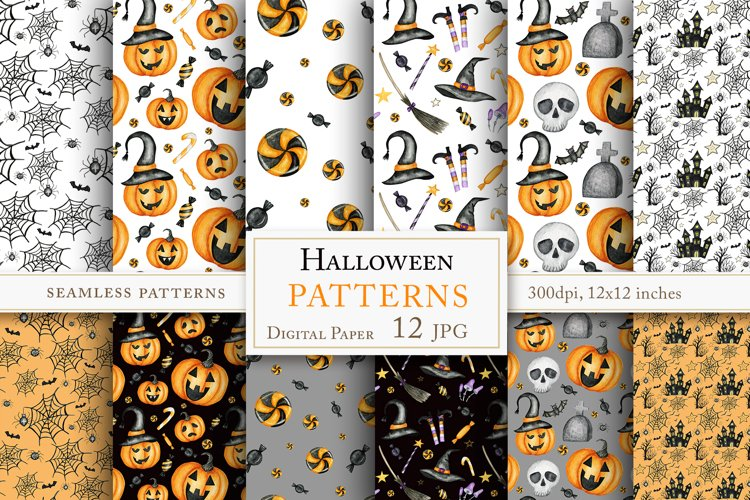 Watercolor Halloween sign Seamless Patterns set example image 1