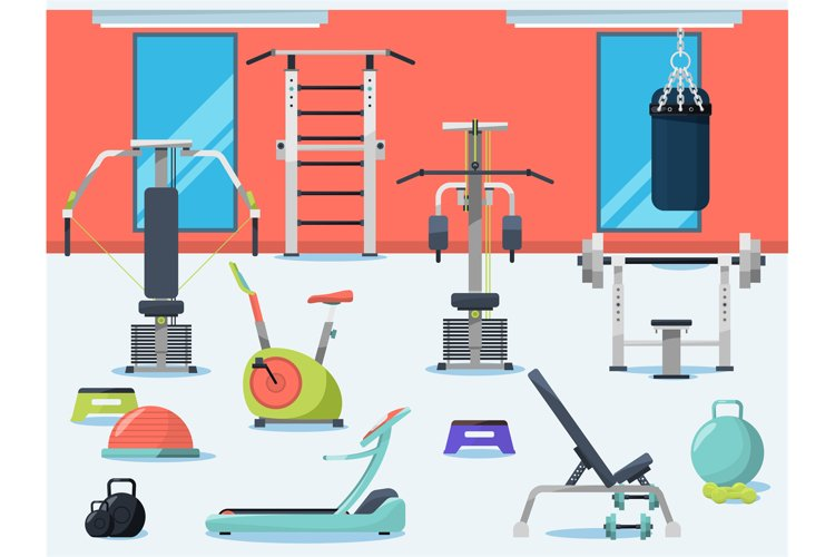 Illustration of gym interior with different sport equipment example image 1