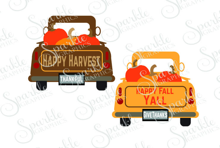 Thanksgiving Vintage Truck File Set | SVG, EPS, DXF, PNG example image 1