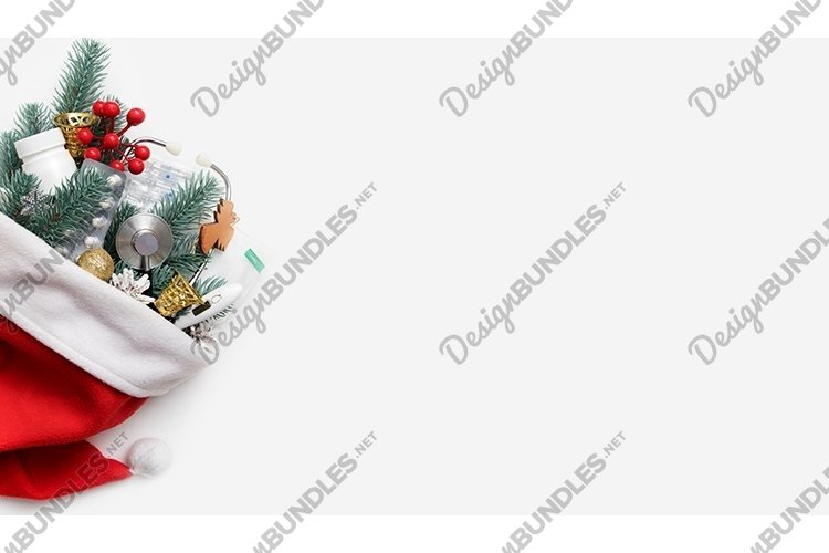 Medical Christmas banner with Santa hat and a stethoscope