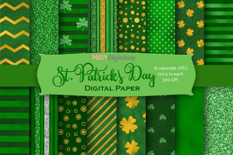 St. Patrick's Day Digital Paper Pack example image 1