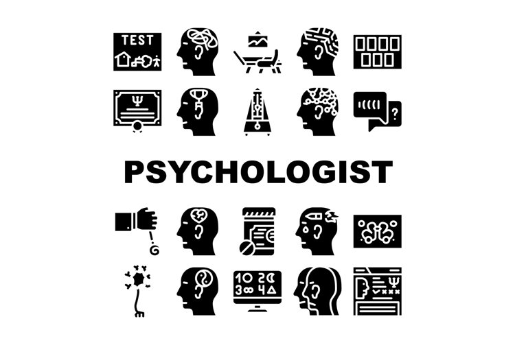 Psychologist Doctor Collection Icons Set Vector example image 1