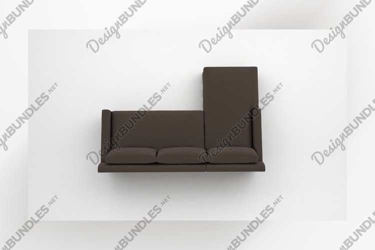 Grey sofa couch top view furniture 3d rendering example image 1