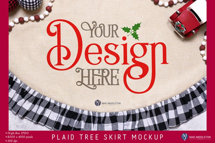 Christmas Tree Skirt Mockup   2 Styled Photos example image 1