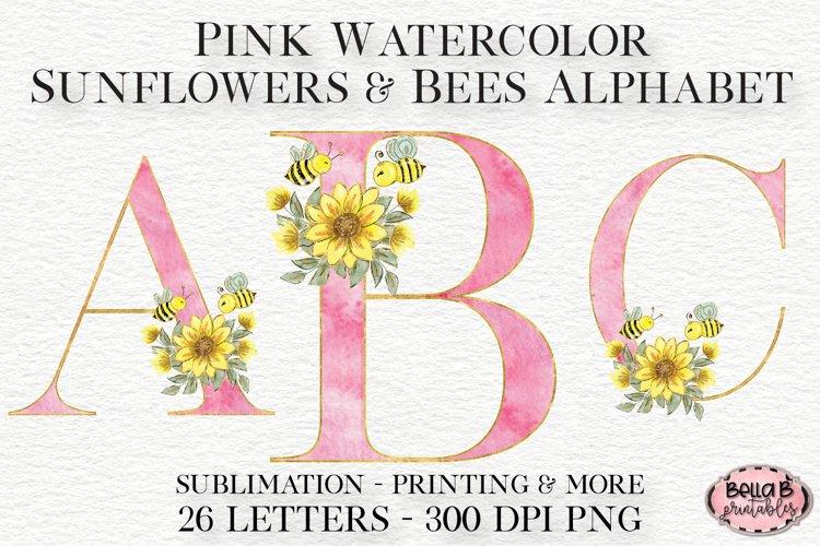 Pink Watercolor Sunflower Alphabet Set, Alphabet Clipart