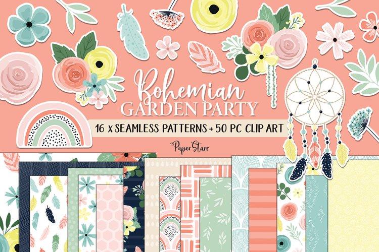 Boho Spring Floral Digital Paper Clipart Bundle