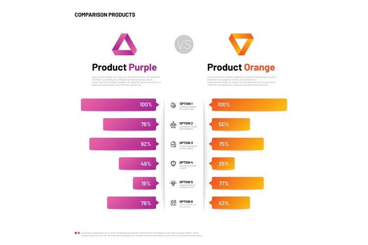 Comparison infographic. Bar graphs with compare description. example image 1