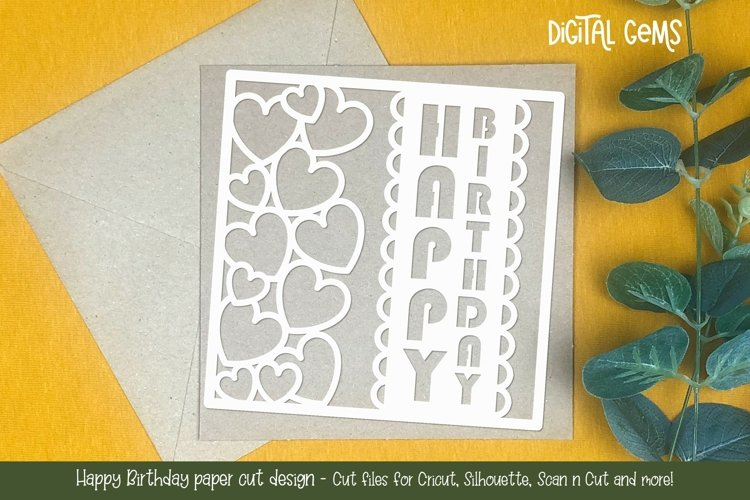 Happy Birthday paper cut design SVG / DXF / EPS / PNG files
