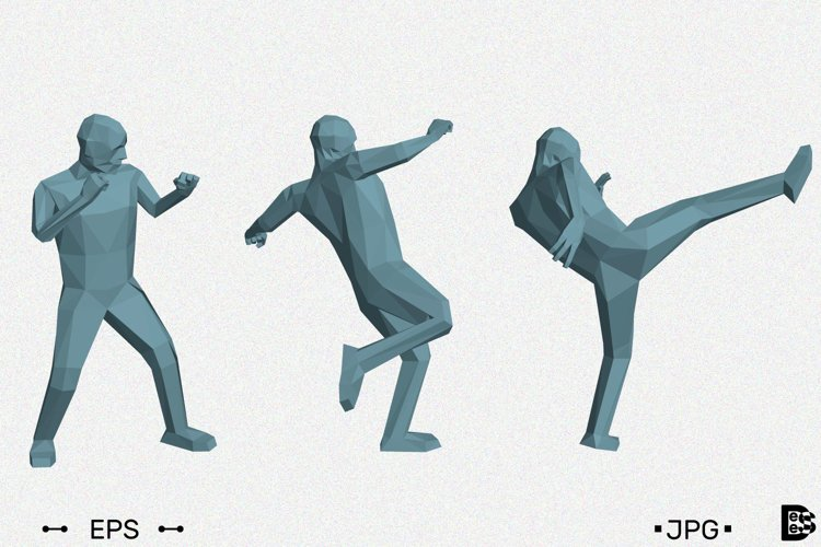 Low poly man makes high kick. 3d vector illustration. example image 1