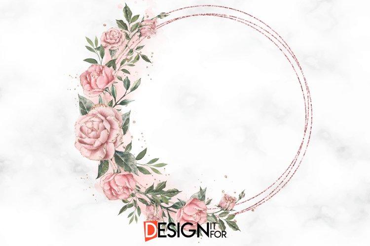 Pink Rose Wreath PNG Frame Clipart, Rose Floral Frame