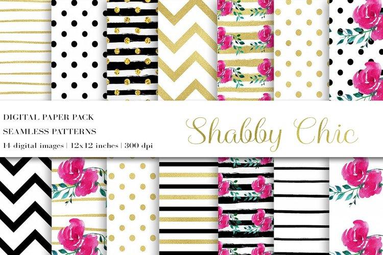 Digital Paper, Flower Digital Paper,Shabby Chic Paper