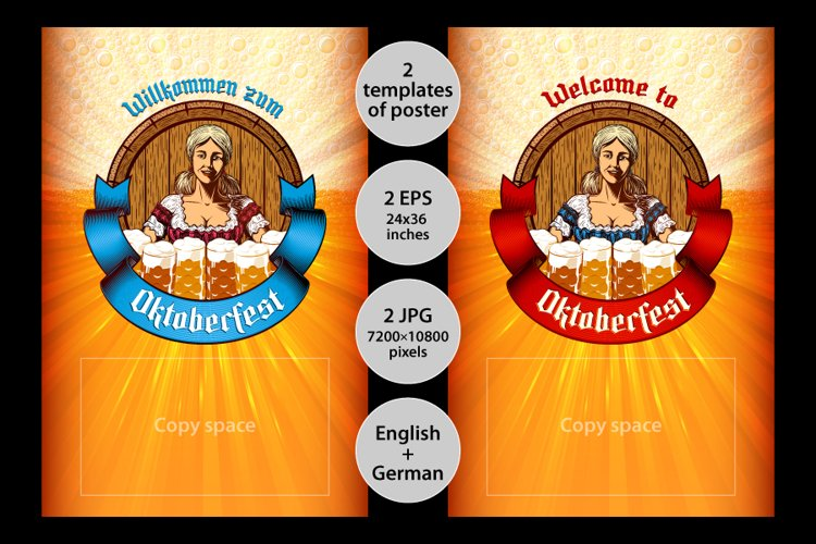 Vector template poster of Oktoberfest girl with beer mugs