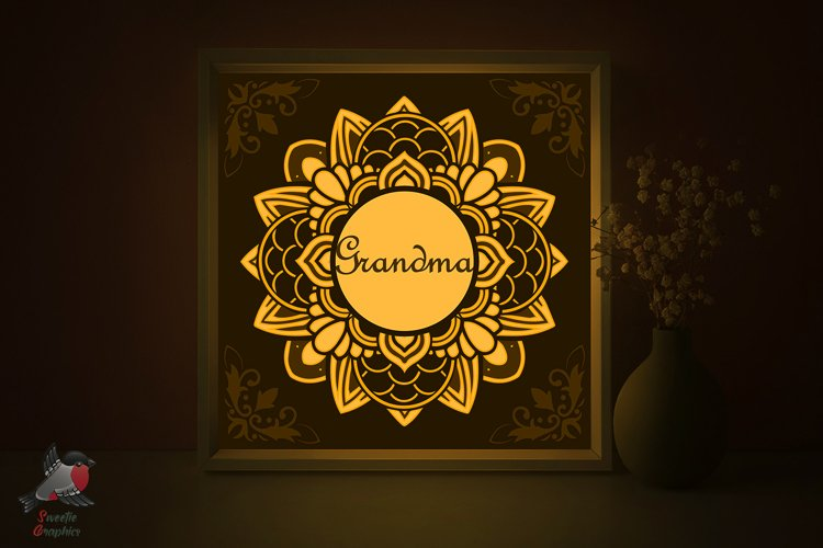 Grandma Gift Mandala Mothers Day Lightbox Shadow Box SVG