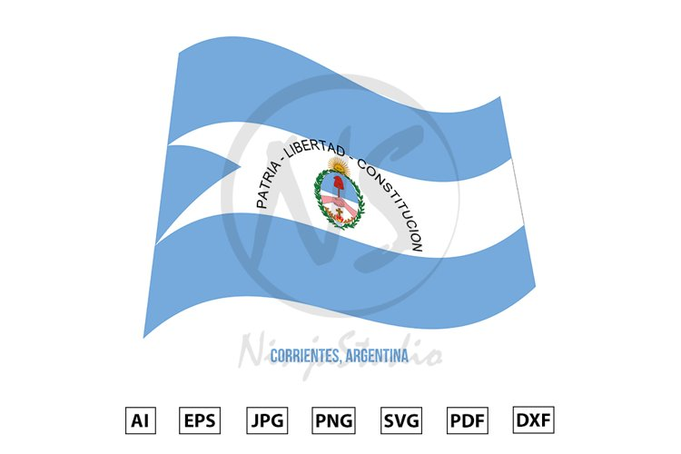 Corrientes Flag Waving Vector. Flag of Argentina Provinces example image 1