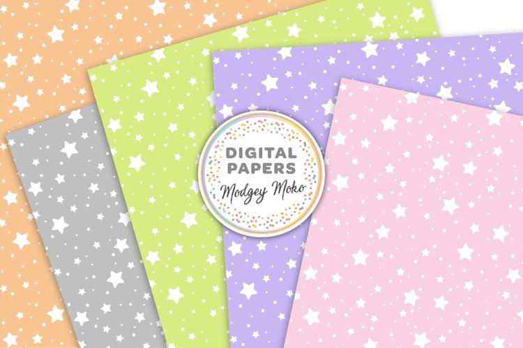 Pastel Stars Digital Printable Papers example 1