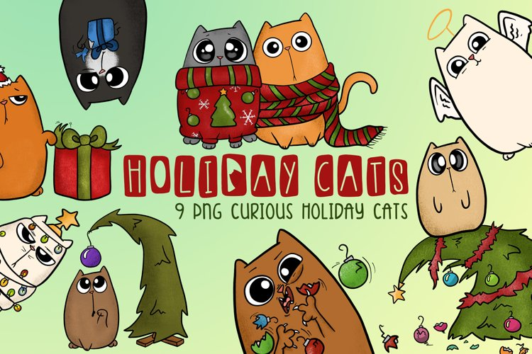 Holiday Cats|Cat Christmas Illustrations|Cat PNG files