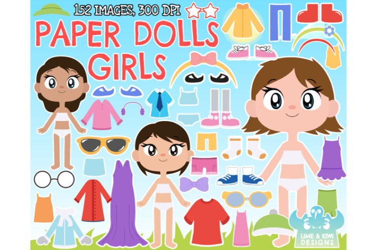 Paper Dolls - Girls Clipart - Lime and Kiwi Designs