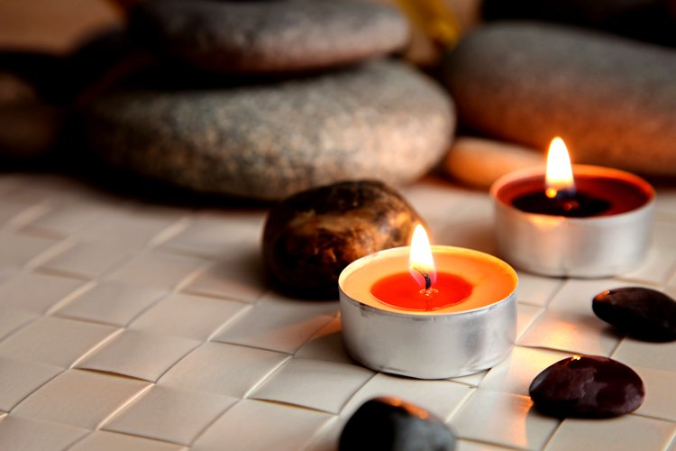 Burning candles. Stone therapy. Spa treatments. example image 1