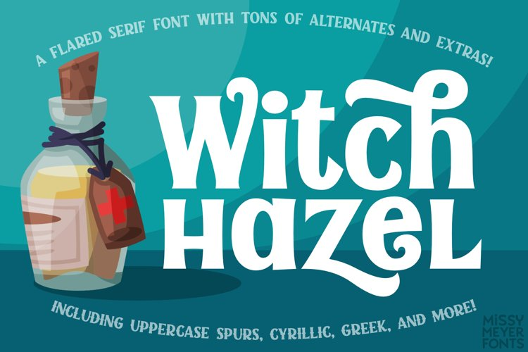 Witch Hazel - a fun flared serif font for all occasions! example image 1