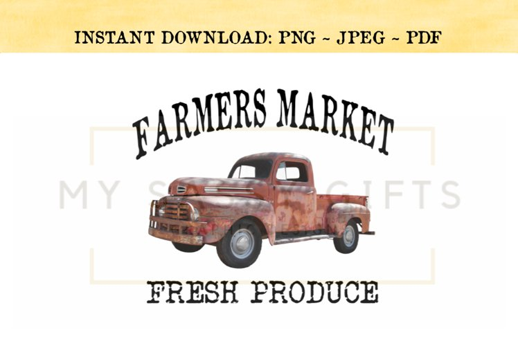 Farmers Market Fresh Produce With Vintage Red Truck Clipart example image 1
