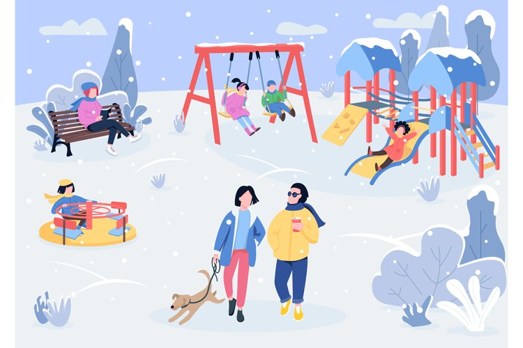 Winter playpark with visitors flat color vector illustration example image 1