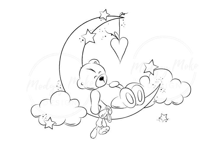Sweet Dreams Little Bear DIGITAL STAMP JPEG