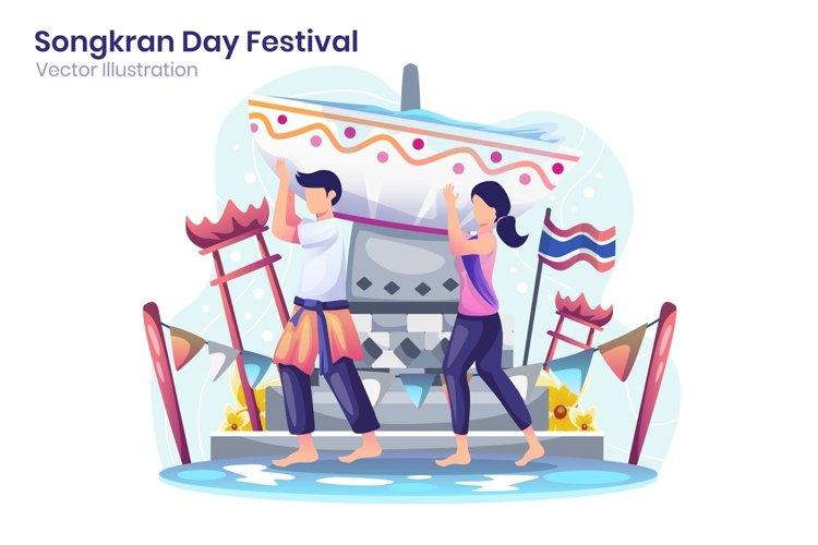 Celebrate Songkran Day Festival concept flat illustration example image 1