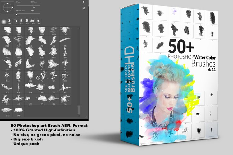 50 HI-RES WATERCOLOR PHOTOSHOP BRUSHES example image 1