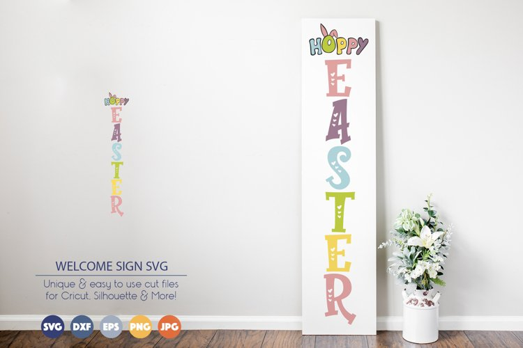 Hoppy Easter SVG | Welcome Sign SVG example image 1