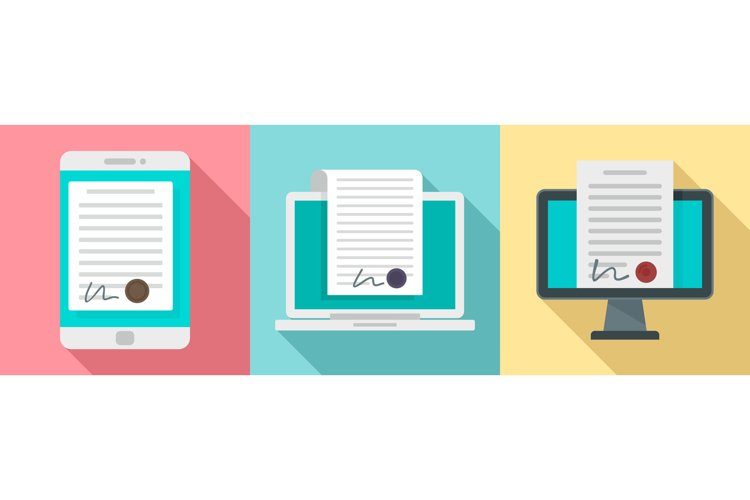 Digital contract icons set, flat style example image 1
