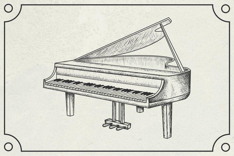 hand drawn grand piano vector illustration