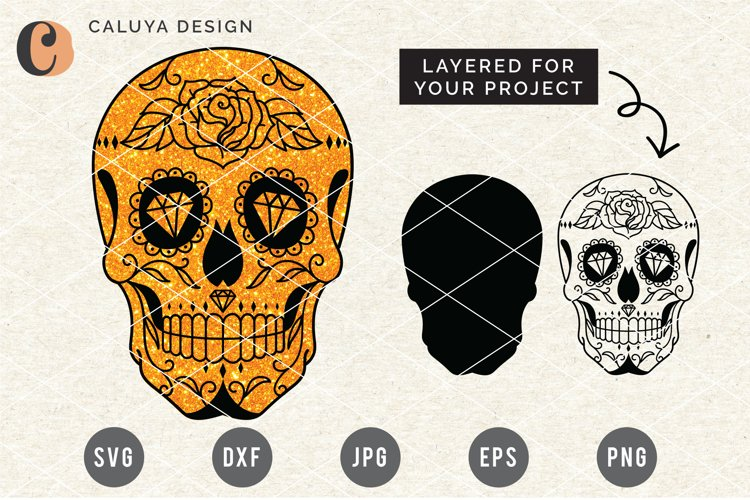 Layered Sugar Skull SVG Cut File
