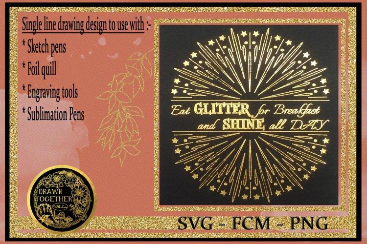 Eat Glitter - Single line Designs |Foil Quill|Digi Stamp example image 1