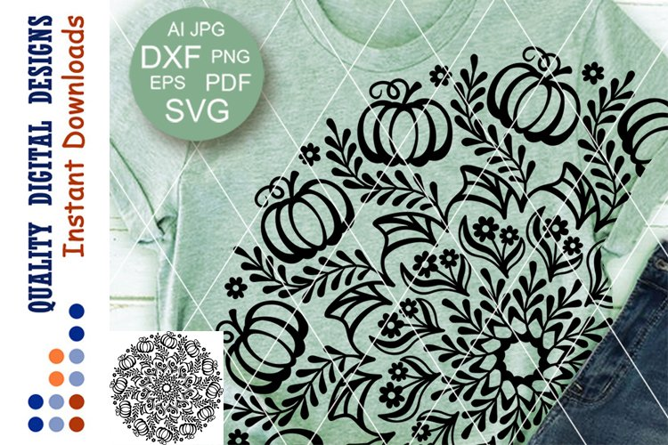 Thanksgiving Mandala Pumpkin clipart SVG files for Cricut
