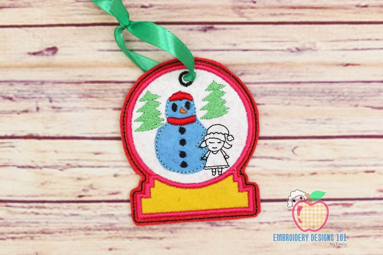Snowman with Girl In The Hoop Ornament example image 1