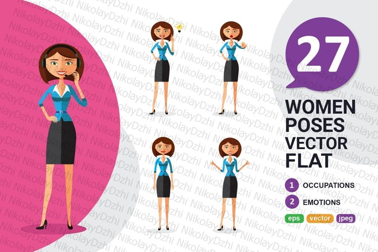 Business flat woman collection vector isolated on white