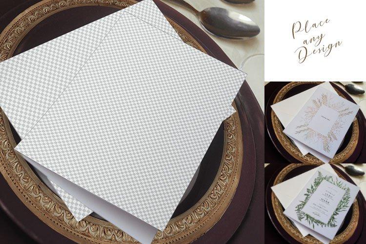 Wedding Card Mockup, 5x7 invitation card mockup plate psd example image 1