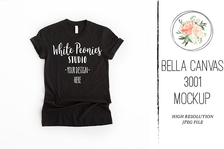 Black Bella Canvas 3001 Shirt Mockup example image 1