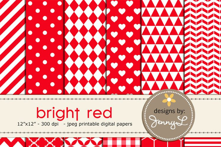 Bright Red Digital Papers example image 1