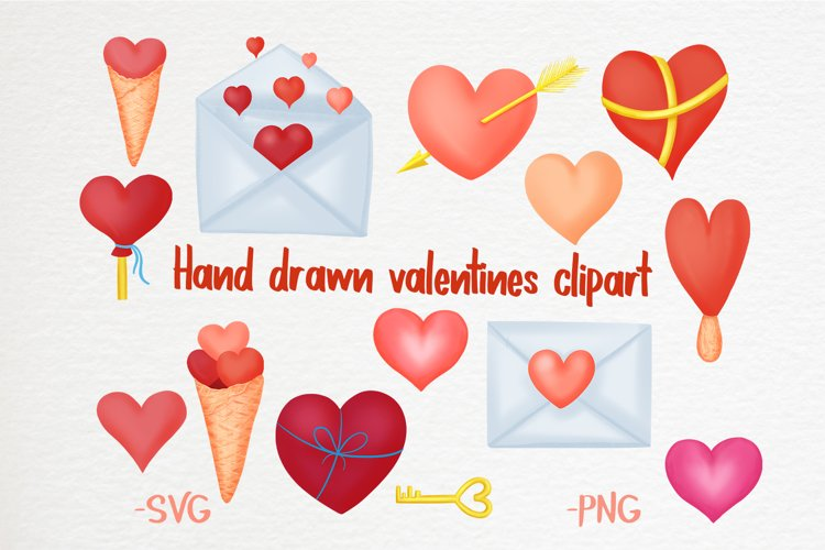 Hand drawn valentines clipart bundle example image 1