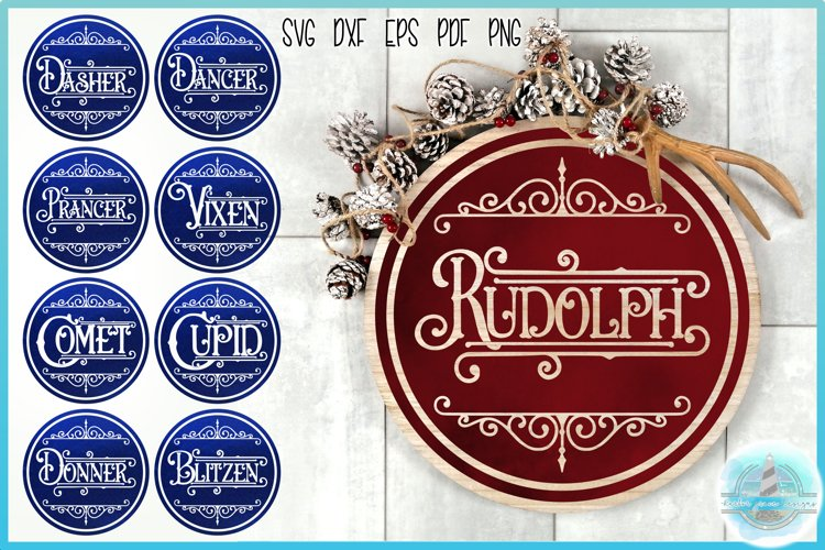 Reindeer Names Round Ceramic Ornament Christmas Bundle SVG example image 1
