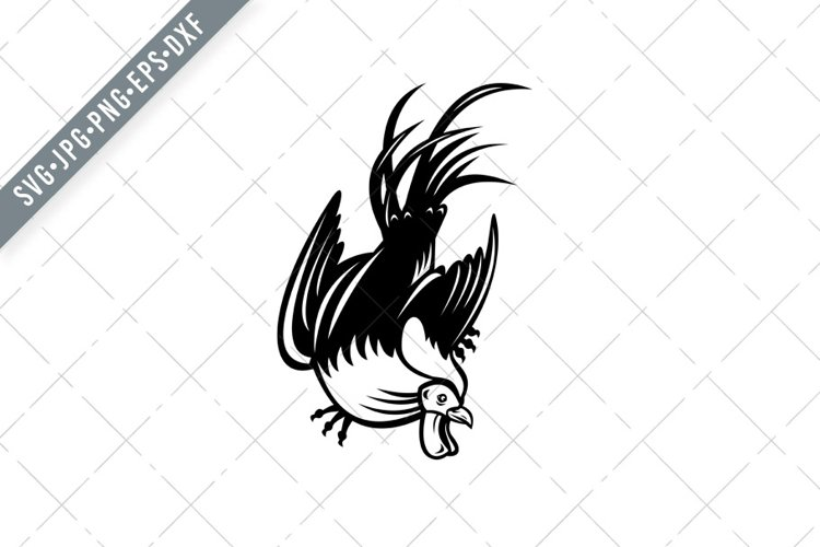 Junglefowl Cockerel or Rooster in Fighting Stance Retro SVG example image 1