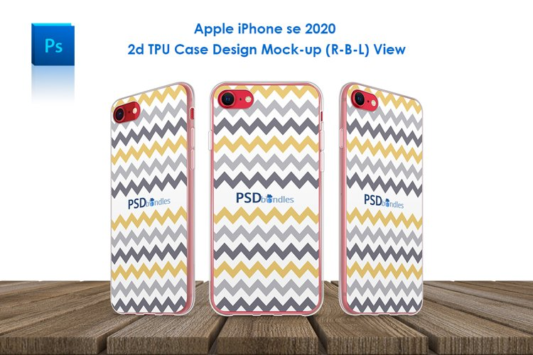 Apple iPhone SE 2020 2d TPU Case Mockup R-B-L View