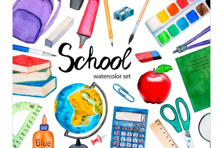 Watercolor School Clipart, Teacher Clipart, School Supplies example image 1