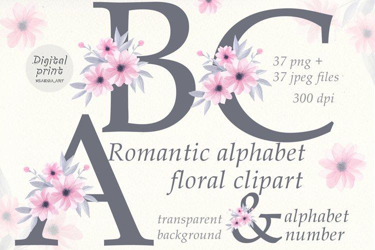 Romantic Alphabet Flowers Clipart Collection