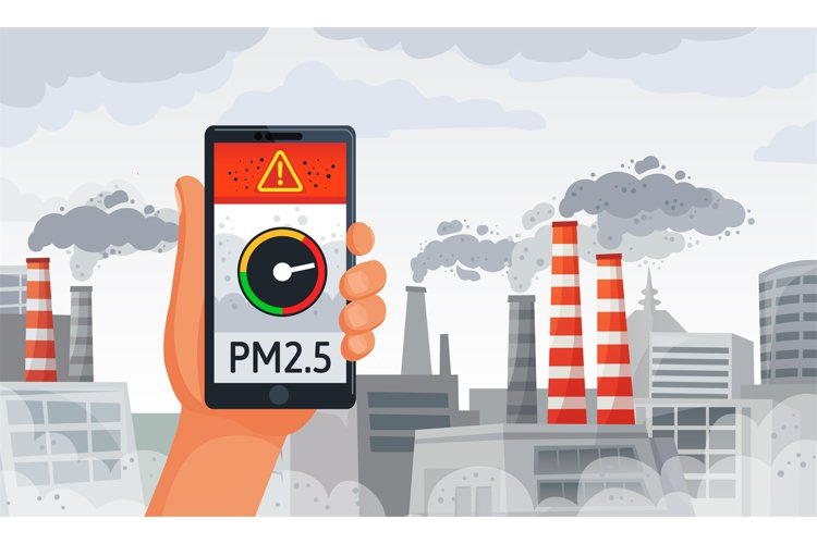 Air pollution alert. PM2.5 alerts meter smartphone notificat example image 1