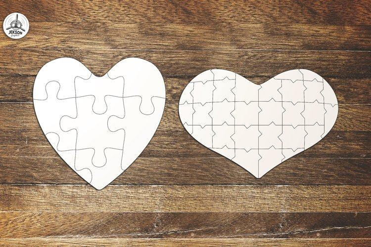 Puzzle Jigsaw SVG Templates Bundle - Classic, Heart, Unusual - Free Design of The Week Design5