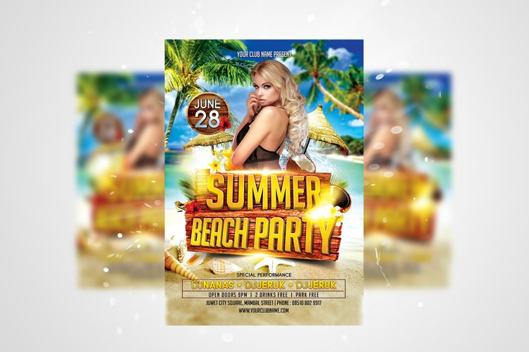 Summer Beach Party Flyer PSD Template example image 1